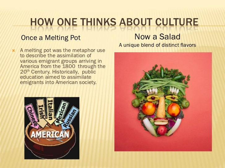 america the melting pot of cultures Zangwill wrote the melting pot in the 1900s, but the true heyday of cultural amalgamation, among whites at least, started in the 1920s, when the united states shut off the spigot of european .