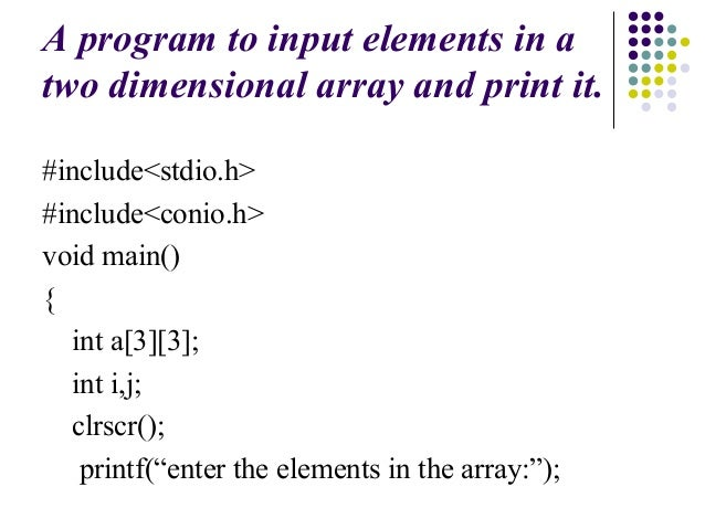 Multidimensional array in C