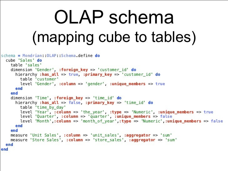 OLAP schema            (mapping cube to tables)schema = Mondrian::OLAP::Schema.define do  cube Sales do    table sales    ...