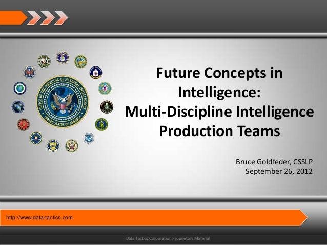 Future Concepts in                                     Intelligence:                              Multi-Discipline Intelli...