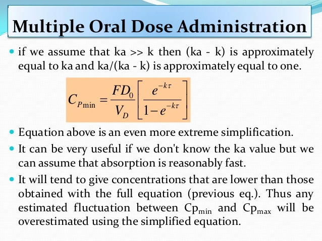 Multiple Oral Dose Administration  C∞ av ( ) is the average plasma concentration during the dosing interval at steady sta...