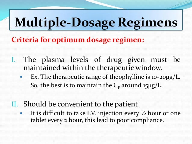 Multiple-Dosage Regimens Criteria for optimum dosage regimen: I. The plasma levels of drug given must be maintained within...