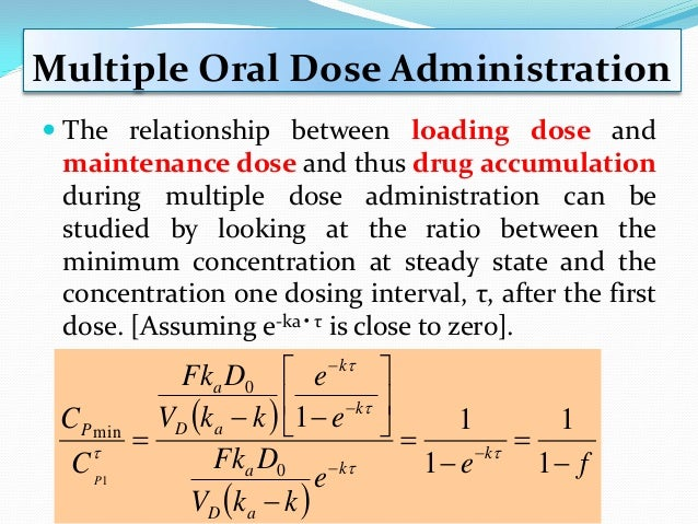  We could now calculate the loading dose Multiple Oral Dose Administration 25.0)12)(166.0(   eef k mg f 832 25.01 6...