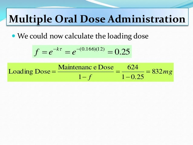 Example: Superposition Principle  Calculate drug concentration at 24 hours after the first dose of 200 mg. The second dos...