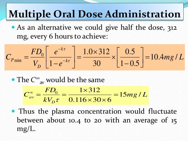 Superposition Principle  This result is shown graphically in in the following figure: Drug Concentration after Three IV B...