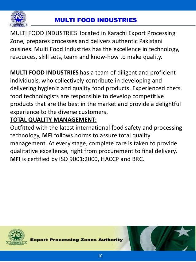 Multi Food-Export Processing Zones Pakistan