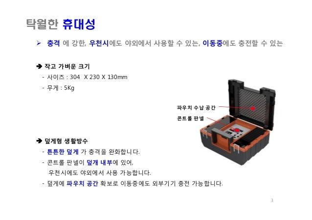  작고 가벼운 크기 - 사이즈 : 304 X 230 X 130mm - 무게 : 5Kg  덮게형 생활방수 - 튼튼한 덮게 가 충격을 완화합니다. - 콘트롤 판넬이 덮개 내부에 있어, 우천시에도 야외에서 사용 가능합니다...