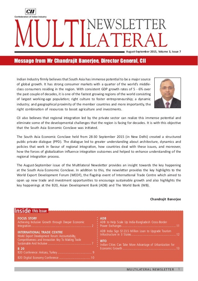 1Multilateral Newsletter  this IssueInside Focus Story Achieving Inclusive Growth through Deeper Economic Integration.......