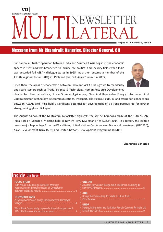 1  Multilateral Newsletter  this Issue  Inside  Focus Story  12th Asean-India Foreign Ministers Meeting:  Recognizing the ...