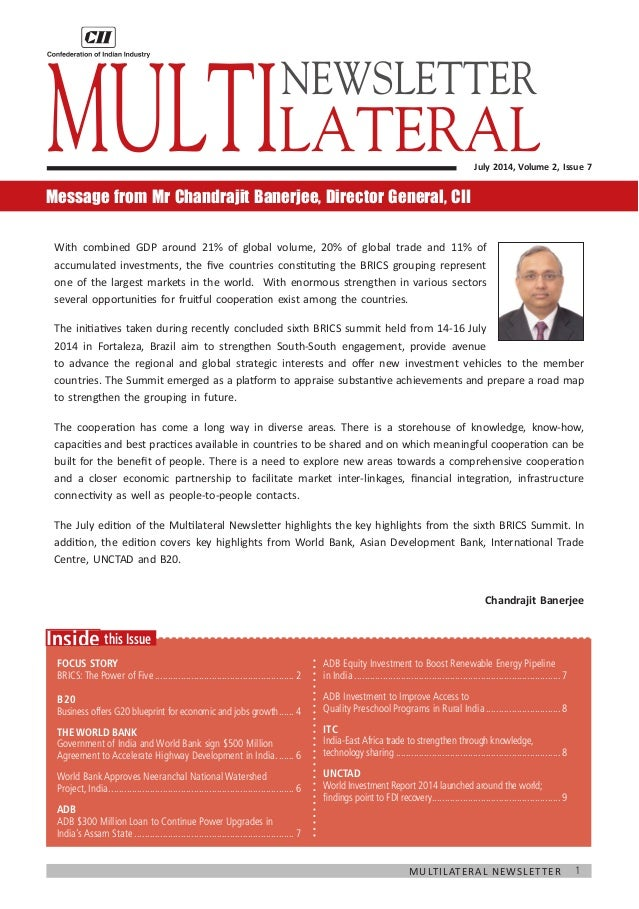 1Multilateral Newsletter  this IssueInside Focus Story BRICS:The Power of Five..............................................