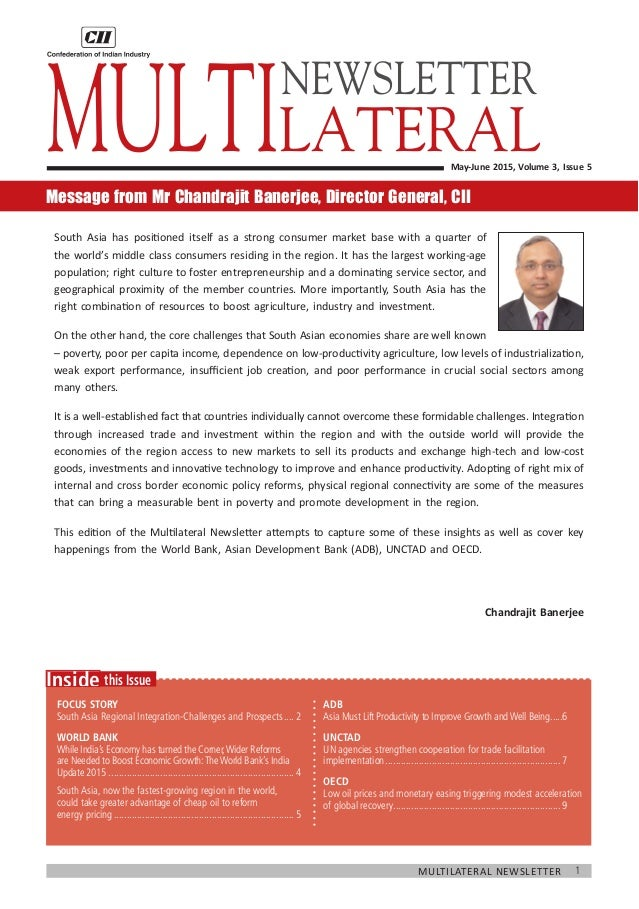 1Multilateral Newsletter  this IssueInside Focus Story South Asia Regional Integration-Challenges and Prospects.....2 WOR...