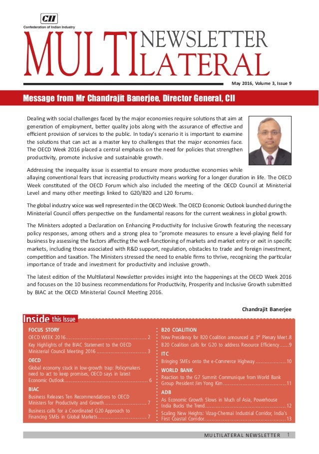 1Multilateral Newsletter 	 this IssueInside Focus Story OECD WEEK 2016.......................................................