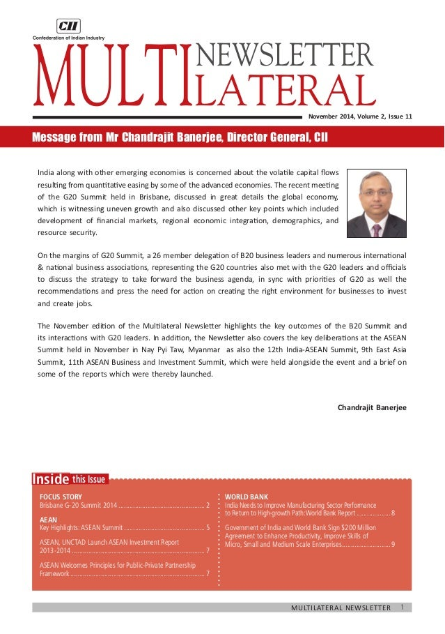 1  Multilateral Newsletter  this Issue  Inside  Focus Story  Brisbane G-20 Summit 2014.......................................