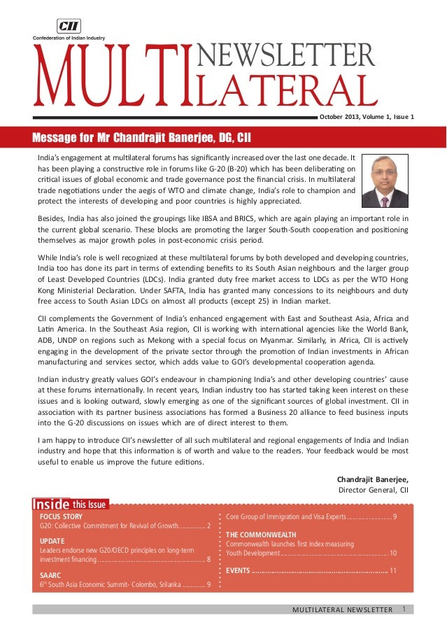 1Multilateral Newsletter 	 this IssueInside Focus Story G20: Collective Commitment for Revival of Growth................2 ...