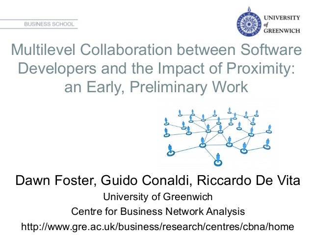 Multilevel Collaboration between Software Developers and the Impact of Proximity: an Early, Preliminary Work   Dawn Fost...