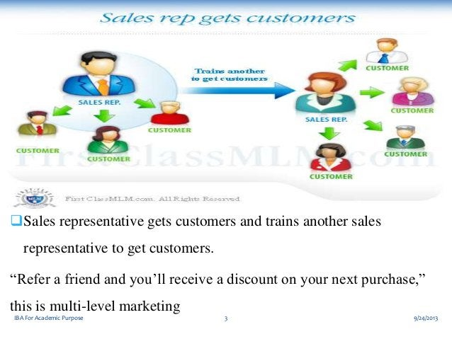 """Sales representative gets customers and trains another sales representative to get customers.  """"Refer a friend and you'll..."""