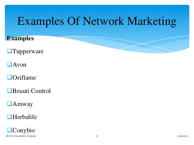 Examples Of Network Marketing Examples  Tupperware Avon Oriflame Beauti Control Amway  Herbalife Conybio IBA For Ac...