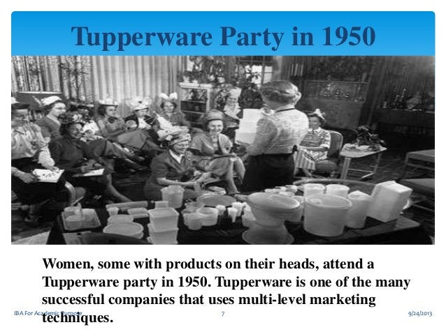 Tupperware Party in 1950  Women, some with products on their heads, attend a Tupperware party in 1950. Tupperware is one o...