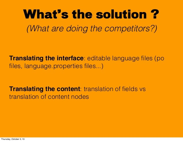 What's the solution ? (What are doing the competitors?) Translating the interface: editable language files (po files, langua...