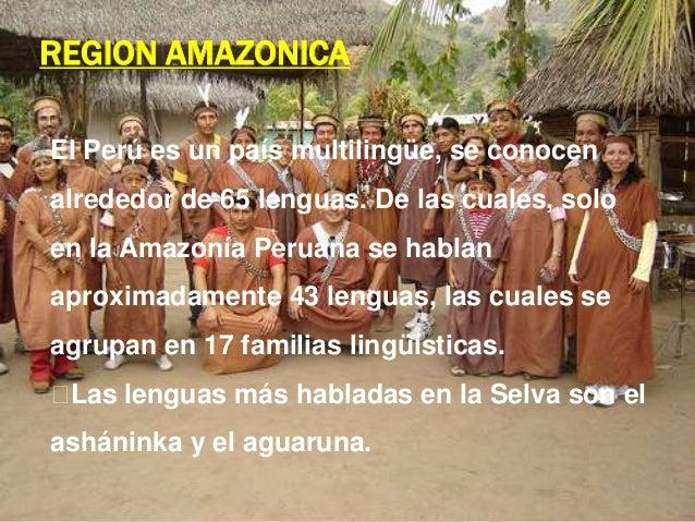 REGION AMAZONICA El Perú es un país multilingüe, se conocen  alrededor de 65 lenguas. De las cuales, solo en la Amazonía P...