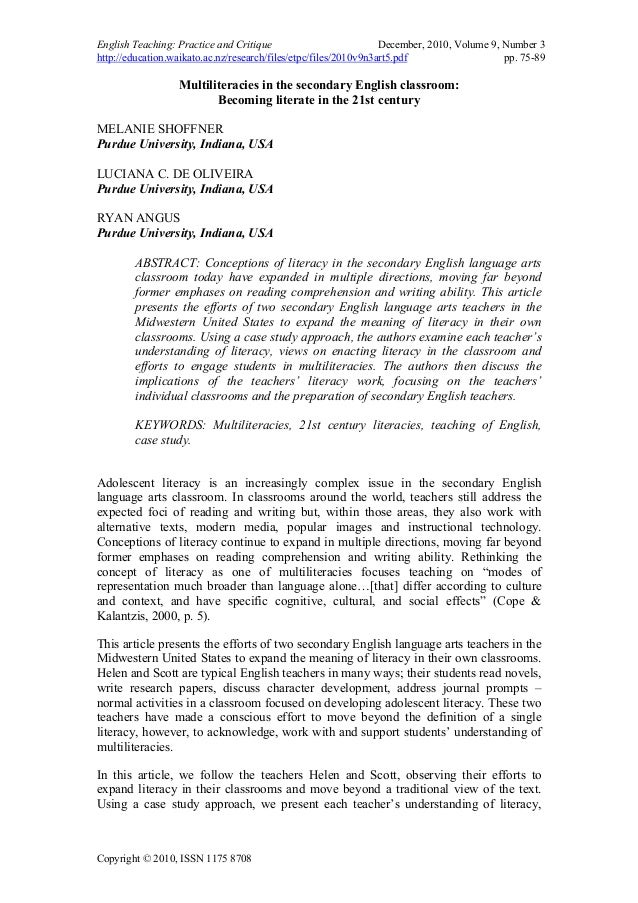 English Teaching: Practice and Critique December, 2010, Volume 9, Number 3 http://education.waikato.ac.nz/research/files/e...