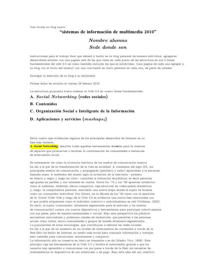 """Van titular su blog nuevo                       """"sistemas de información de multimedia 2010""""                              ..."""