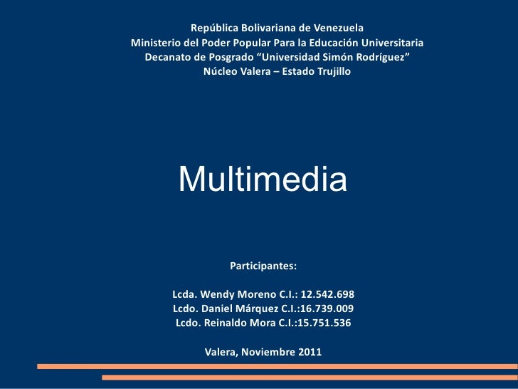 """República Bolivariana de Venezuela Ministerio del Poder Popular Para la Educación Universitaria Decanato de Posgrado """"Univ..."""