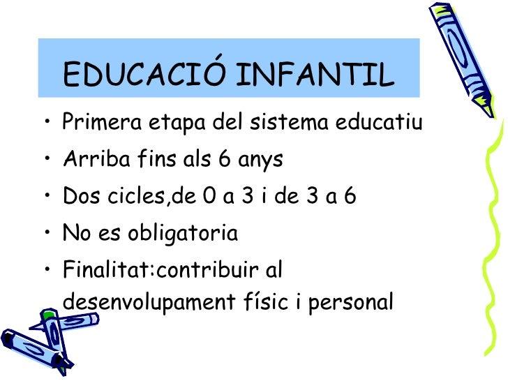 EDUCACIÓ INFANTIL <ul><li>Primera etapa del sistema educatiu </li></ul><ul><li>Arriba fins als 6 anys </li></ul><ul><li>Do...