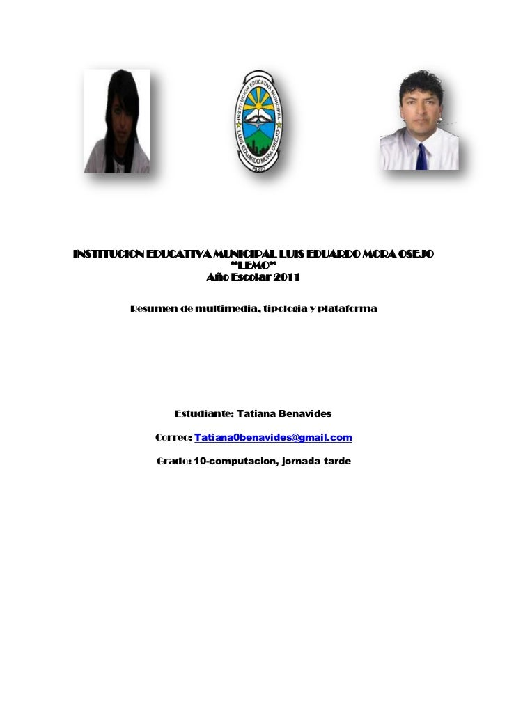 "4587240812802415540147955<br />INSTITUCION EDUCATIVA MUNICIPAL LUIS EDUARDO MORA OSEJO ""LEMO""<br />Año Escolar 2011<br />R..."