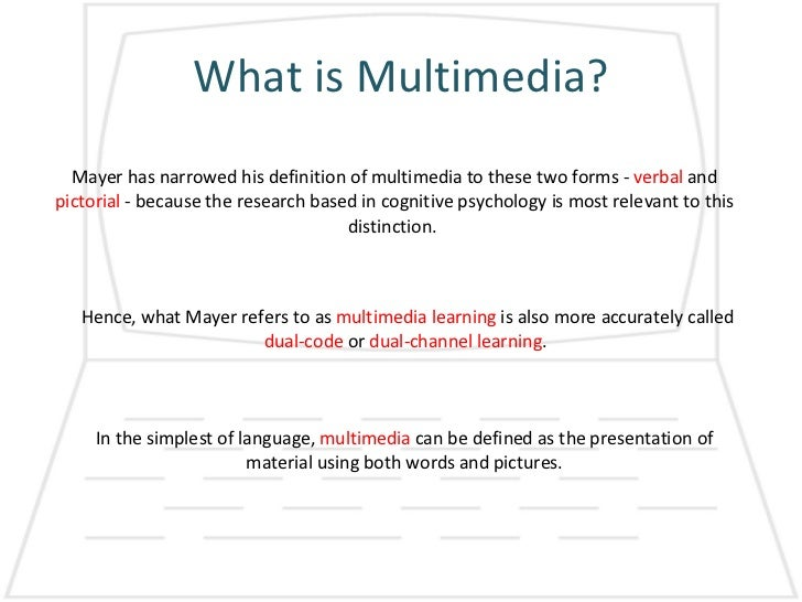 definition of multimedia Multimedia offers a wide variety of ways of presenting content through computers and/or electronic devices use them to your advantage.