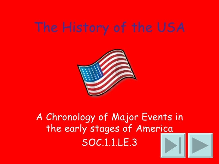 The History of the USA A Chronology of Major Events in the early stages of America SOC.1.1.LE.3