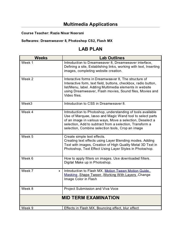Multimedia ApplicationsCourse Teacher: Razia Nisar NooraniSoftwares: Dreamweaver 8, Photoshop CS2, Flash MX               ...