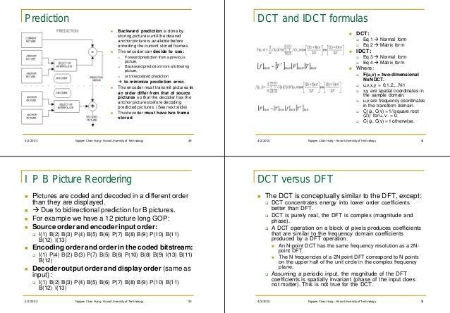 Prediction                                                                                          DCT and IDCT formulas ...