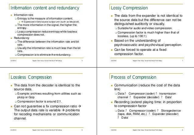 Information content and redundancy                                                 Lossy Compressionn   Information rate  ...