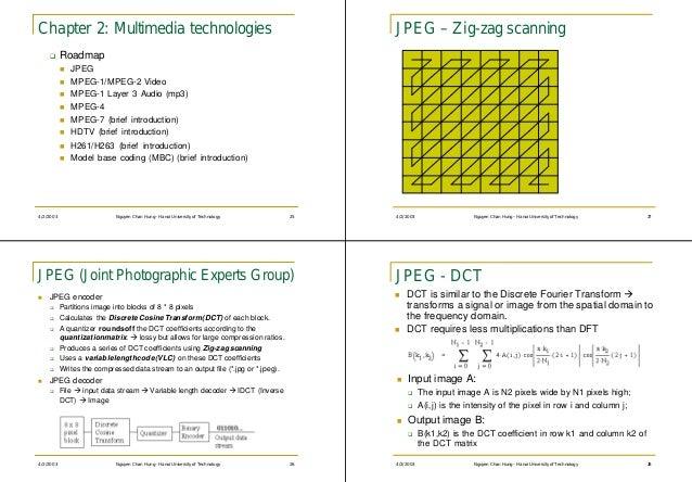 Chapter 2: Multimedia technologies                                                       JPEG – Zig-zag scanning    q     ...