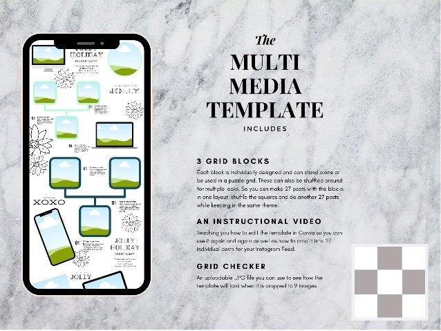 Multi media instagram puzzle template