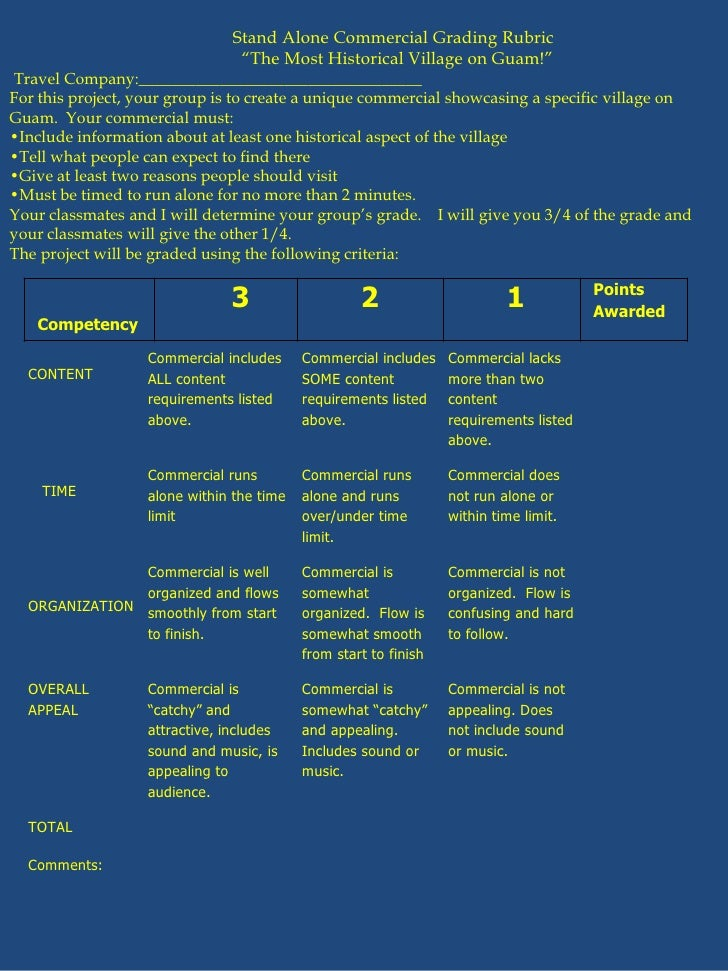 "Stand Alone Commercial Grading Rubric<br />                                                     ""The Most Historical Villa..."