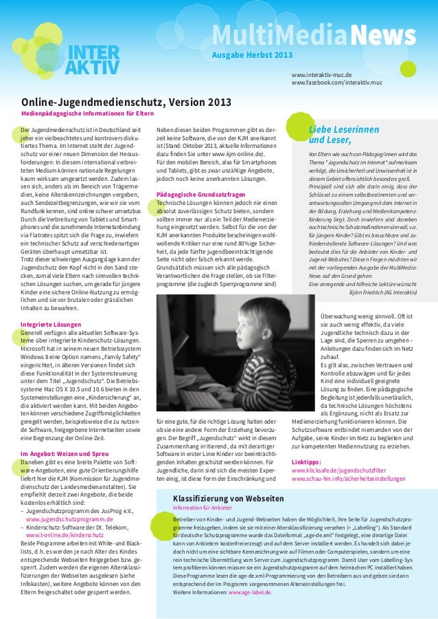 Ausgabe Herbst 2013 www.interaktiv-muc.de www.facebook.com/interaktiv.muc  Online-Jugendmedienschutz, Version 2013 Medienp...