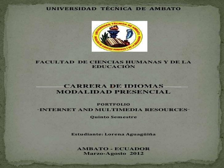 UNIVERSIDAD TÉCNICA DE AMBATOFACULTAD DE CIENCIAS HUMANAS Y DE LA            EDUCACIÓN     CARRERA DE IDIOMAS    MODALIDAD...
