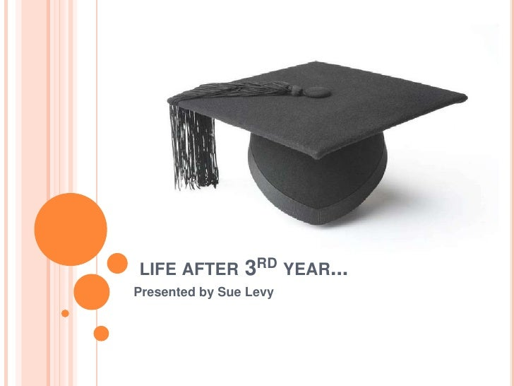 LIFE AFTER      3RD YEAR...Presented by Sue Levy
