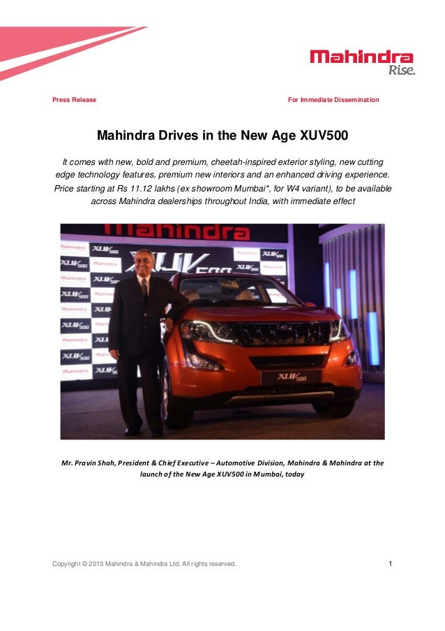 new car release in india 20132015 Mahindra XUV500 India launch  Official