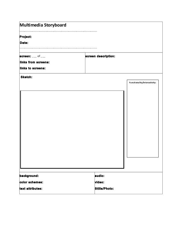 Multimedia Storyboard Template