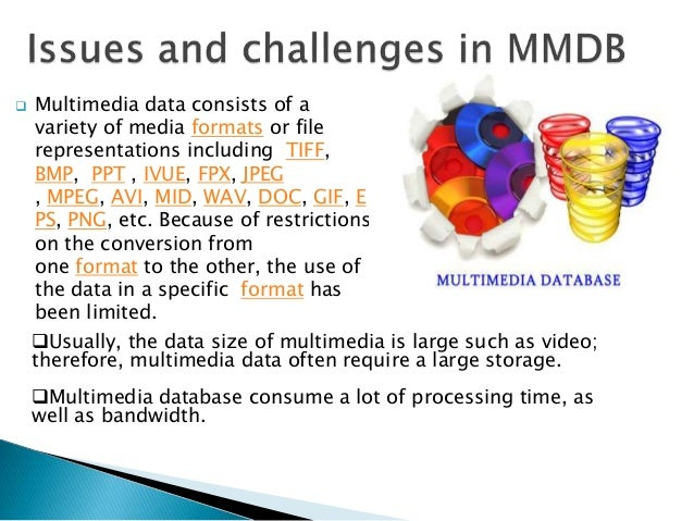  Multimedia data consists of a variety of media formats or file representations including TIFF, BMP, PPT , IVUE, FPX, JPE...