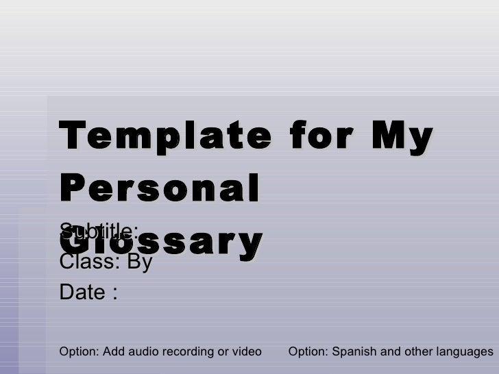 Multimedia Vocabulary Template
