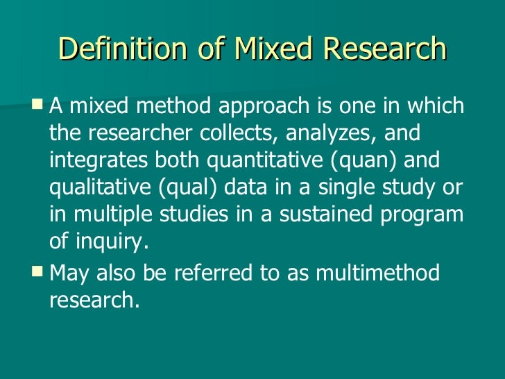 Mixed method research study