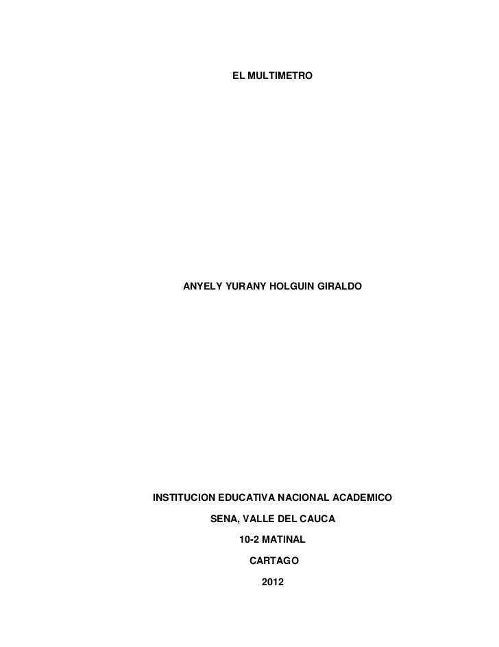 EL MULTIMETRO     ANYELY YURANY HOLGUIN GIRALDOINSTITUCION EDUCATIVA NACIONAL ACADEMICO         SENA, VALLE DEL CAUCA     ...