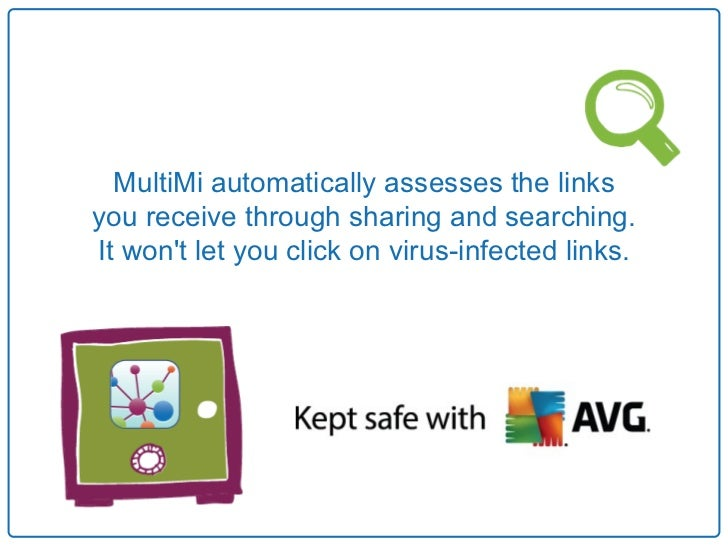 MultiMi automatically assesses the linksyou receive through sharing and searching.It wont let you click on virus-infected ...