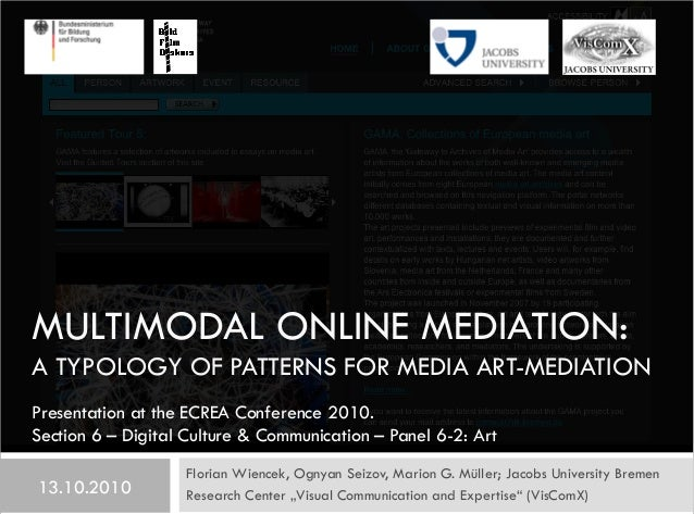 MULTIMODAL ONLINE MEDIATION: A TYPOLOGY OF PATTERNS FOR MEDIA ART-MEDIATION Florian Wiencek, Ognyan Seizov, Marion G. Müll...