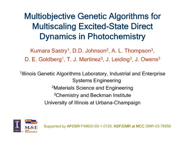 I/ iultiobjective Genetic Algorithms for iviultiscaling Excited-State Direct Dynamics in Photochemistry  Kumara Sastry',  ...