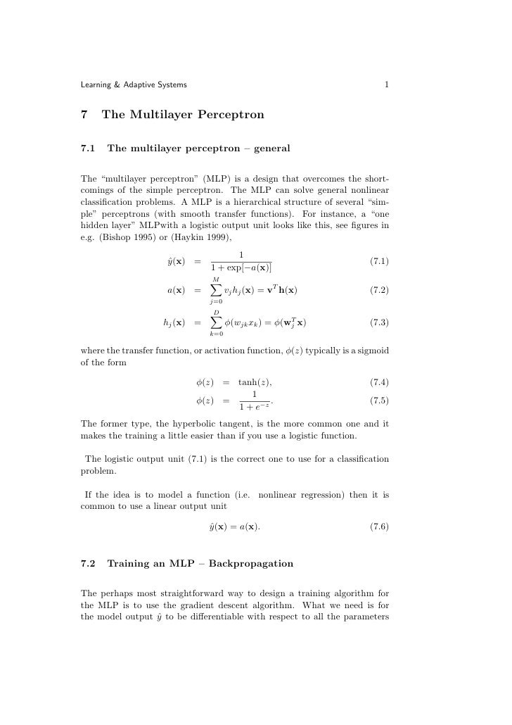 Learning & Adaptive Systems                                                   1   7     The Multilayer Perceptron  7.1   T...